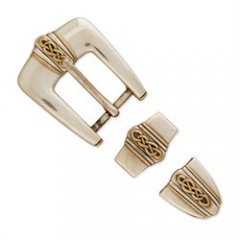7803-10 Plymouth Buckle Set Antique Gold Plate 1``